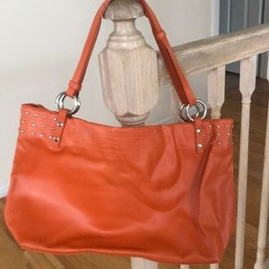 NIB Orange studded Tote Bag
